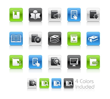 textbooks: Book Icons -- The file includes 4 color versions for each icon in different layers