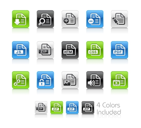 js: Documents Icons - 1 -- The file includes 4 color versions for each icon in different layers