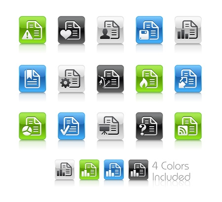 formats: Documents Icons - 2 -- The file includes 4 color versions for each icon in different layers