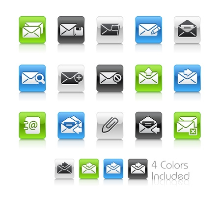 mail icon: E-mail Icons -- The file includes 4 color versions for each icon in different layers