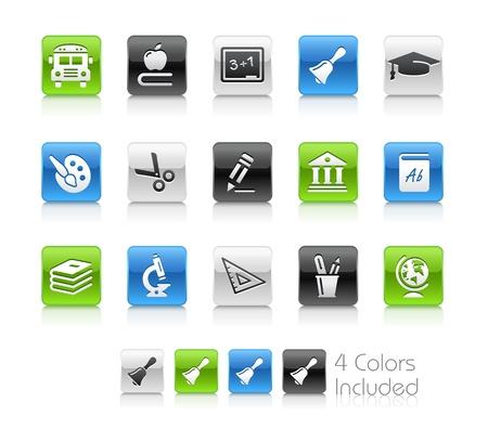 iconos educacion: Iconos de la escuela y la educaci�n - El archivo incluye 4 versiones del color para cada icono en diferentes capas Vectores