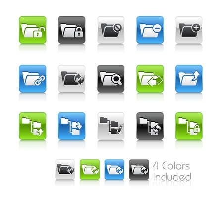 Folder Icons - 1 -- The Vector file includes 4 color versions for each icon in different layers Stock Vector - 19117258