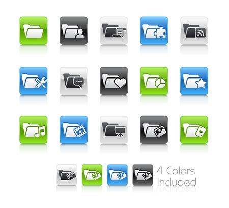 Folder Icons - 2 -- The file includes 4 color versions for each icon in different layers Stock Vector - 19117268