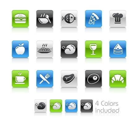 Food Icons - 1 - Die Datei enthält 4 Farbversionen für jedes Symbol in verschiedenen Schichten Illustration