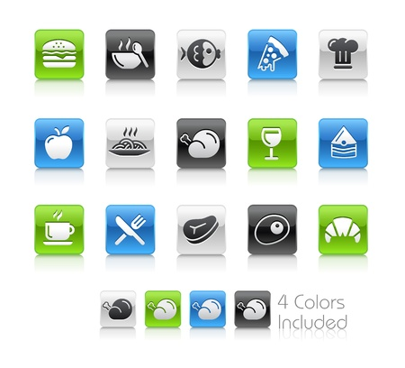 Food Icons - 1 -- The file includes 4 color versions for each icon in different layers Ilustração