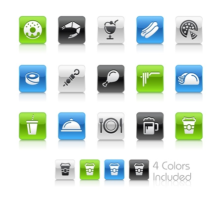 Food Icons - 2 -- The file includes 4 color versions for each icon in different layers Vector