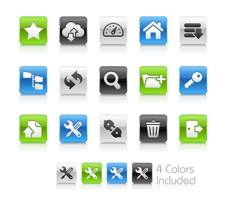 add icon: FTP and Hosting Icons -- The file includes 4 color versions for each icon in different layers Illustration