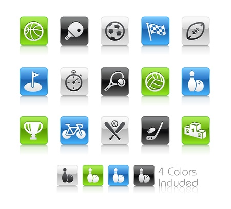 Sports Icons -- The file includes 4 color versions for each icon in different layers