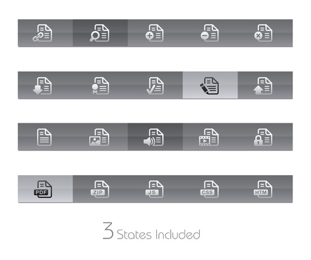 Documents - Set 1 - Gelbar Series - The EPS file includes 3 buttons states in different layers Stock Vector - 19561200