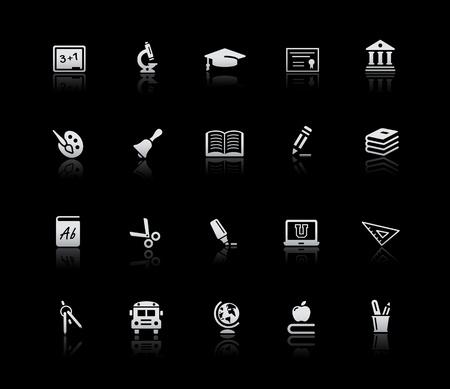 School and Education Icons -- Silver Series Vector