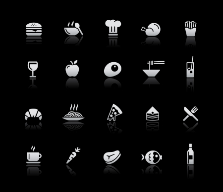 lo mein: Food Icons - Set 1 -- Silver Series Illustration
