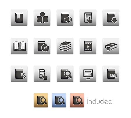search icon: Boek Icons - De set bestaat uit 4 kleuren uitvoeringen voor elk pictogram in verschillende lagen