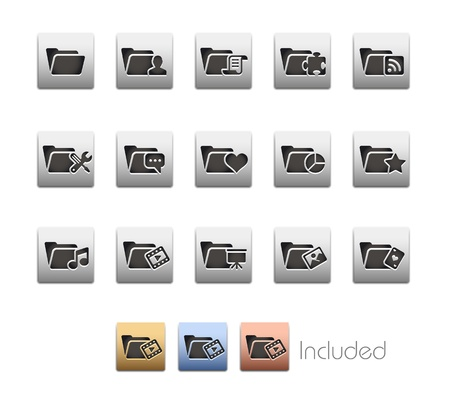 Folder Icons - 2 of 2 - The set includes 4 color versions for each icon in different layers Stock Vector - 21686265