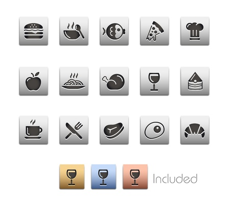 Food Icons - Set 1 - The set includes 4 color versions for each icon in different layers  Vector
