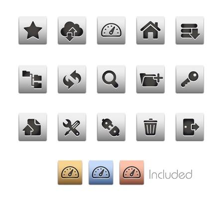 opfrissen: Hosting Icons - De set bestaat uit 4 kleuren uitvoeringen voor elk pictogram in verschillende lagen