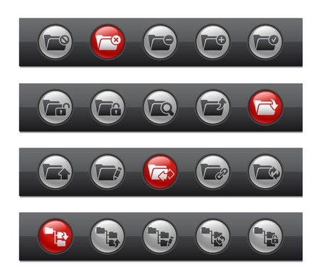 Folder Icons - Set 1 of 2 -- Button Bar Series  Stock Vector - 22038070
