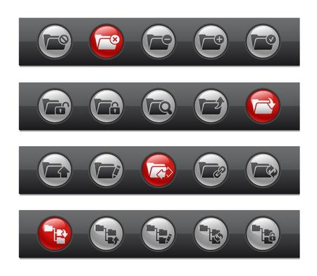 Folder Icons - Set 1 of 2 -- Button Bar Series Stock Vector - 22038070
