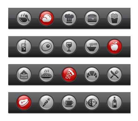 Food - Set 1 of 2 -- Button Bar Series  Vector