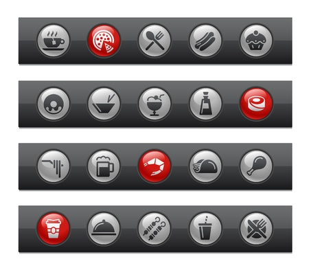 Food - Set 2 of 2 -- Button Bar Series  Vector