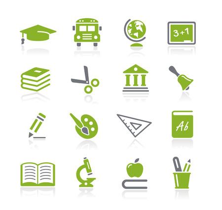 iconos educacion: Iconos de la educaci�n - serie de la naturaleza Vectores