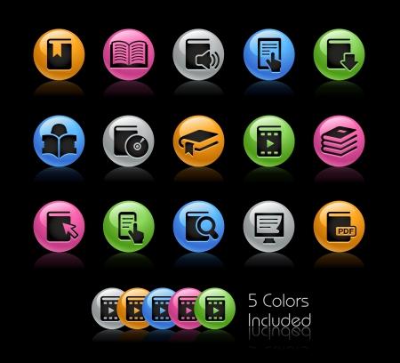 učebnice: Knihy Ikona souboru - soubor zahrnuje 5 barevných provedeních v různých vrstvách Ilustrace