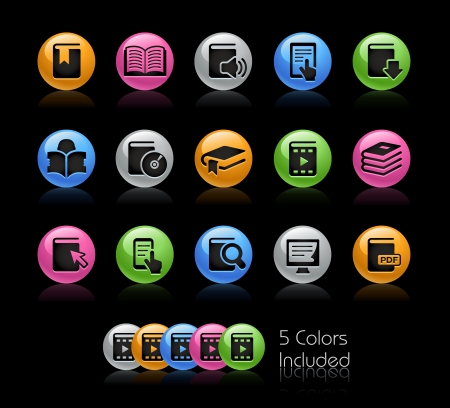 multimedia: Libri Icon set - Il file include 5 versioni di colore in diversi strati