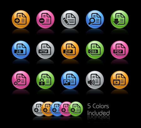 java script: Documents Icon set - The file Includes 5 color versions in different layers  Illustration