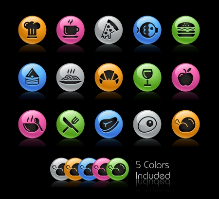 Food 1 Icon set - The file Includes 5 color versions in different layers  Vector