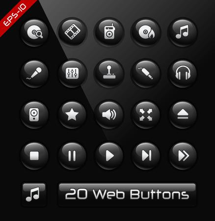 vcr: Media Player Icons Illustration