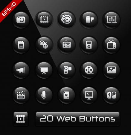 toolbar: Multimedia Icons -- Black Label Series  Illustration