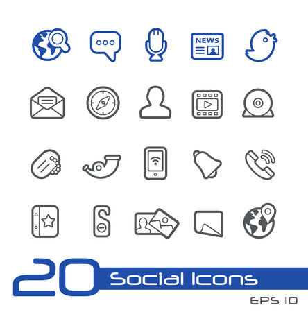 icons site search: Social Network Icons -- Line Series