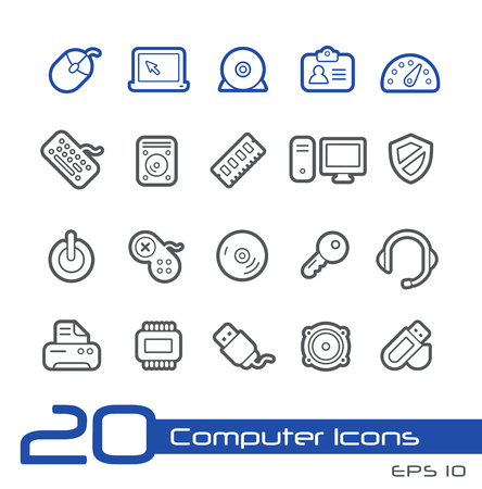 Computer Store Icons -- Line Series Vector