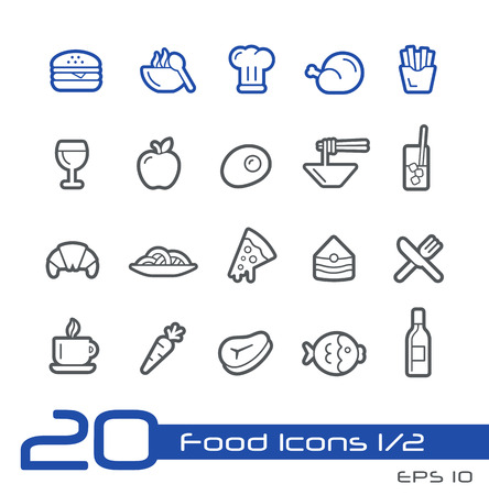 take out food: Food Icons - Set 1 of 2 -- Line Series