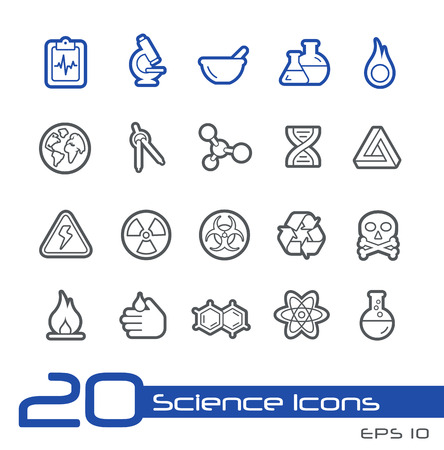 toxicology: Science Icons -- Line Series Illustration