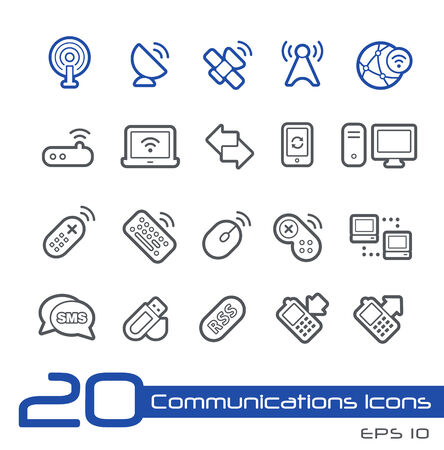 Wireless Communications Icons -- Line Series Vector