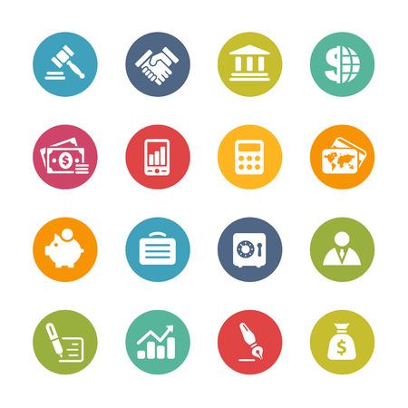 バンキング: ビジネスと金融のアイコン - 新鮮な色シリーズ  イラスト・ベクター素材