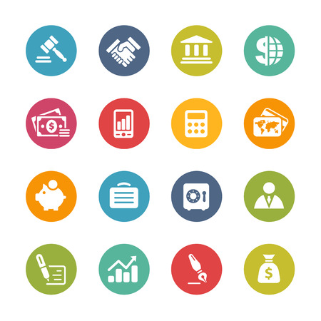 Business and Finance Icons -- Fresh Colors Series Banco de Imagens - 32375979