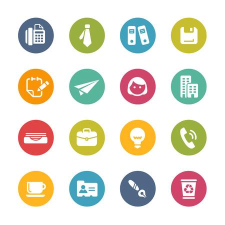 interacci�n: Oficina y S�mbolos de negocios - Colores frescos de la serie Vectores