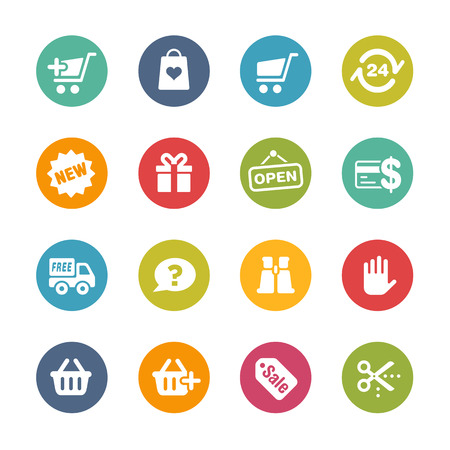 E-Shopping Icons - frische Farben Series Standard-Bild - 32376037