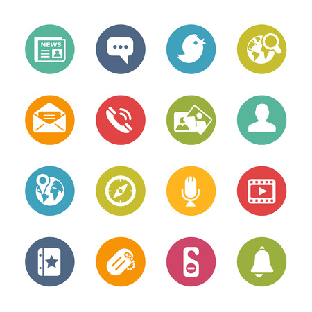 통신: 사회 아이콘 - 신선한 색상 시리즈 일러스트
