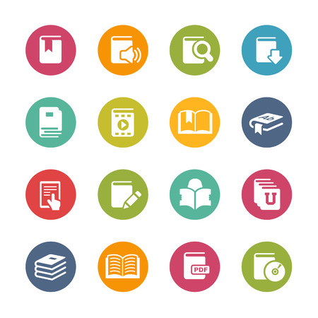 Book Icons Fresh Colors Series Vector