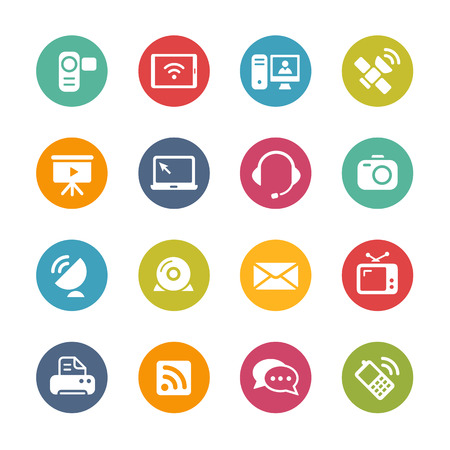 Communication Icons Fresh Colors Series Vector