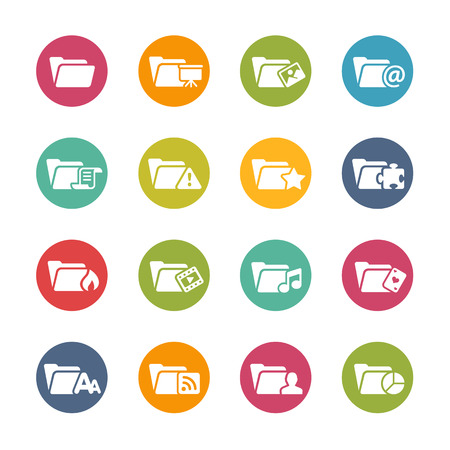 Folder Icons Fresh Colors Series Vector