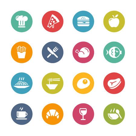 продукты питания: Еда и напитки Иконки свежие цвета серии Иллюстрация