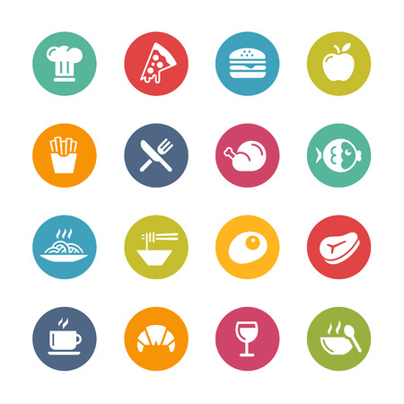 Food and Drink Icons Fresh Colors Series Vector