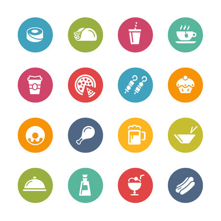 continental food: Food and Drink Icons Fresh Colors Series