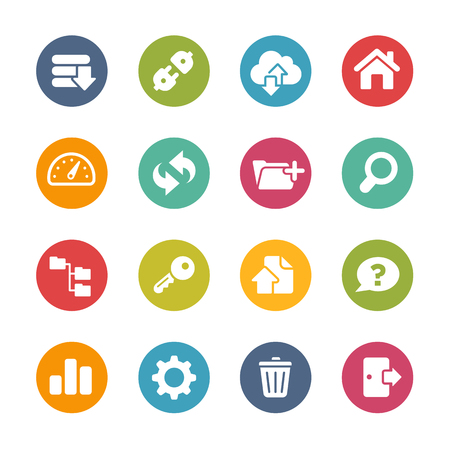 log out: FTP and Hosting Icons Fresh Colors Series Illustration
