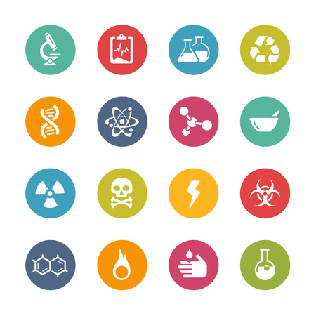 hazardous substances: Science Icons Fresh Colors Series Illustration