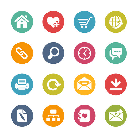 Web Site and Internet Icons Fresh Colors Series Stock Illustratie