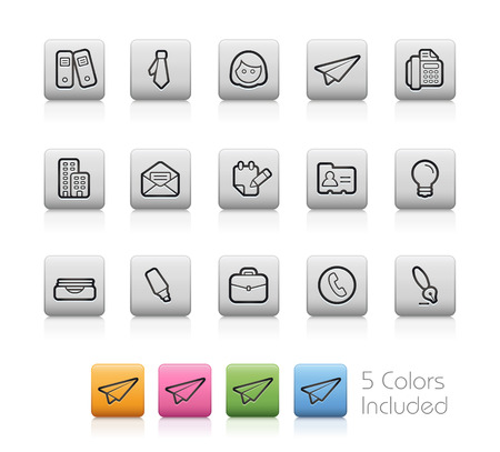 Office and Business Icons - EPS with 5 colors in different layers Vector
